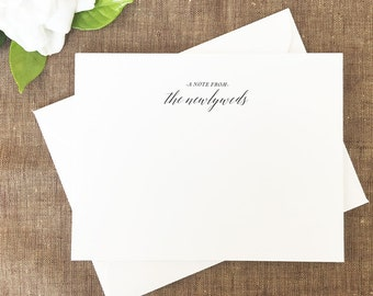 Newlywed Note Cards, Bride and Groom Note Cards, Thank You Notes, Set of 25 Cards