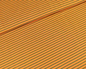 Cotton Jersey stripe olive orange (15,00 EUR / meter)
