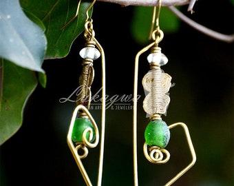 Green Ethnic Drop Earrings,Green African Beaded Earrings