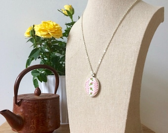 Cross-Stitched Pendant Necklace - Vintage Pink Roses - Handmade