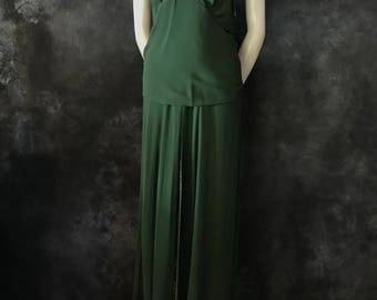 Vintage 1930's forest green halter neck gown AS IS