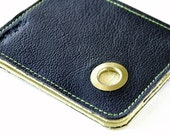 Leather 5 Pocket Wallet - Porthole on Pebble Black with Pale Sage Accents
