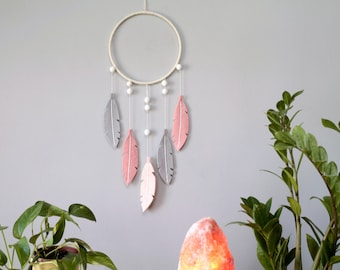 Modern Bohemian Feather Wall Hanging. Felt Dream Catcher for Nursery or Bedroom.