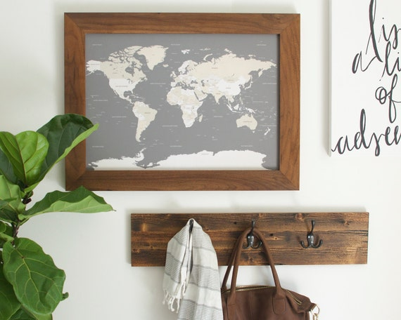 Framed world map push pin travel map small world map world like this item gumiabroncs Gallery