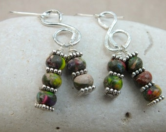Rainbow Imperial Jasper Gemstone Earrings Gifts for her