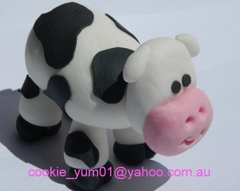 1 edible COW 3d LARGE cake decoration TOPPER farm barnyard animal gumpaste sugarcraft