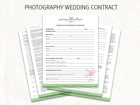 Wedding Contract Wedding Photography Contract Template