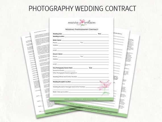 Wedding Contract Wedding Photography Contract Template