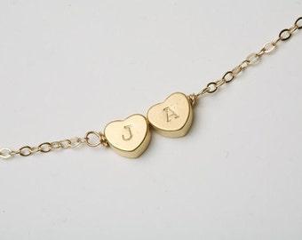 Reversible Heart initial Bracelet,gold bracelet,Monogram adjustable,Bridesmaid gifts,Birthday,Friendship,Mother Jewelry