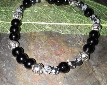 Black Obsidian, Black Onyx and Snowflake Obsidian bracelet ~ healing bracelet ~ protective bracelet ~ gemstone bracelet ~ root chakra