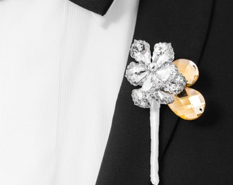 Prom Boutonniere, Wedding Boutonniere - Two Flower Ranier Boutonniere with Gold Leaves - Buttonhole, Silver and Gold Boutonniere, Crystal