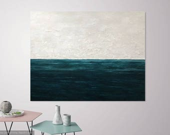 Large Coastal Art, Large Abstract Ocean Painting, Seascape Abstract, Modern Artwork, Coastal Decor, Modern Ocean Painting