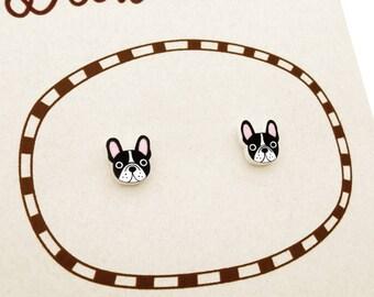 Black & White French Bulldog Earrings, French Bulldog Jewelry, Tiny Earrings, Bulldog Jewellery, Dog Earrings, Dog Jewelry, Shrink Plastic