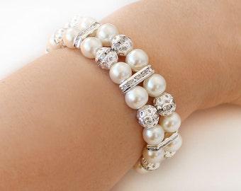 Bridesmaid gift pearl bracelet wedding jewelry bridesmaid gift 2 Strand Pearl Bracelet rhinestone rondelles wedding bracelet ivory pearl
