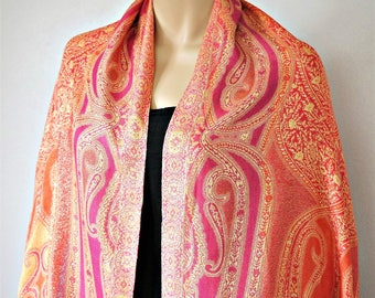 Vintage India Shawl Woven Floral Paisley Colorful Wrap Fringed Boho Scarf Long Rectangle