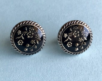 Black Silver Floral Button Stud Earrings