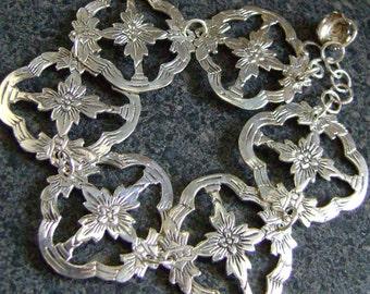 POINSETTIA -  Christmas Bracelet, EcoFriendly Jewelry, Silver Plate Bracelet, Poinsettia Bracelet, Vintage Silver Plate Jewelry, SPB31