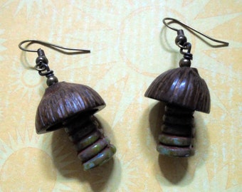 Rustic Green and Brown Palm Tree Earrings (3485)
