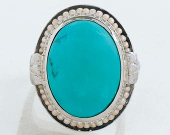 Antique Ring - Antique Edwardian 18k White Gold Turquoise Cabochon and Seed Pearl Ring