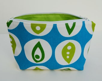 Modern Zipper Pouch, Blue Zippered Pouch, Floral Make Up Bag, Floral Cosmetic Bag, Bridesmaid Gift