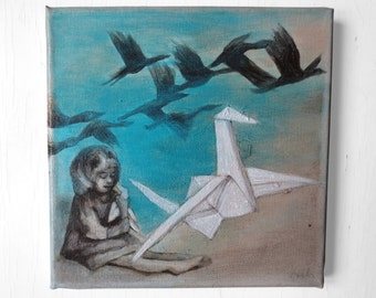 Acrylic painting on canvas, picture origami bird, birds picture nursery, original painting, little girl, flock of birds,art, living room
