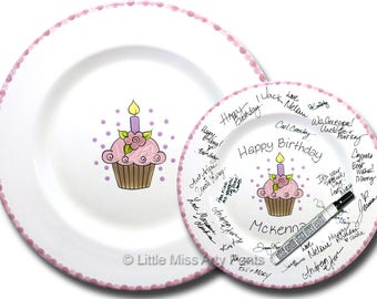 Free Shipping - Hand Painted Signature Birthday Plate - Flower Cupcake - Happy Birthday Plate -1st Birthday -Birthday Cupcake -Birthday Gift