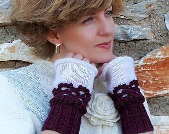 Purple White Fingerless mittens, Crochet, knit, Wine Gloves, Arm Wrist Warmers