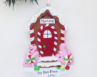 Gingerbread Door Personalized Christmas Ornament: New Home, First House, First Apartment