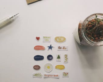 handmade watercolour planner/bullet journal/diary sticker set