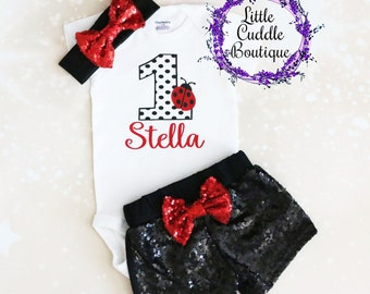 Personalized Ladybug First Birthday Outfit, Baby Girl Outfit, Ladybug Outfit, Ladybug Shirt, Ladybug One Piece, Ladybug Birthday, Birthday