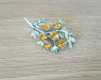 Vintage Floral Brooch Amber Rhinestone Green Enamel Leaf Design Costume Jewellery Silver Tone Pin Floral Bouquet Brooch Wedding Brooch Pin