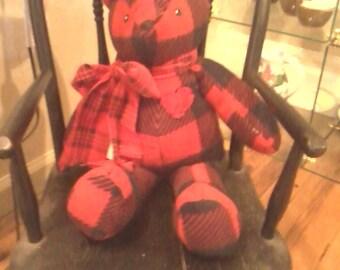 Bear Love Bear Teddy Bear black and red buffalo plaid fleece with plaid bow and crocheted heart