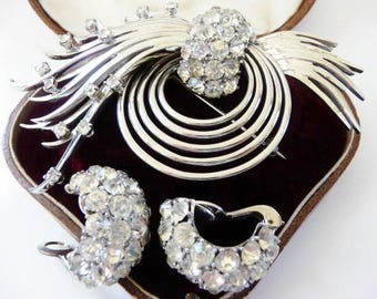 Pennino sterling rhinestone pin brooch clip earrings set   designer signed 1940s   atomic shooting star   vintage sterling jewelry