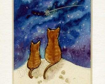 Hand-Painted Christmas card (original - not a print!) with sparkles !