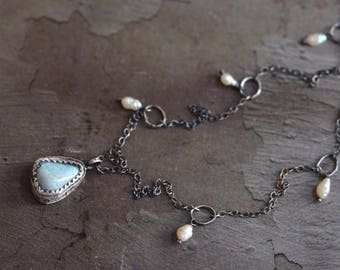 Larimar Necklace - Pearl Necklace - Bezel Necklace - Rustic Silver Necklace - Oxidized Sterling Silver Necklace - Dangle Necklace