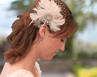 Bridal headpiece, wedding headpiece, vintage headpiece, hairaccessory, hairpin, fascinator