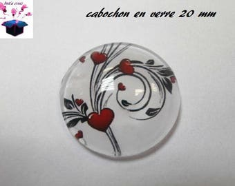 1 cabochon clear 20mm heart Butterfly theme