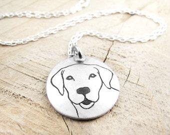 Yellow Labrador Retriever necklace in silver, Lab necklace