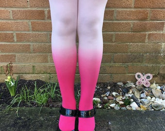 Kendall Blossom White Ombre Tights - Gift for Her - Lingerie - Outfit - Presents - Husband - Dip Dye - xoxo - Gradient - Kawaii - Pink