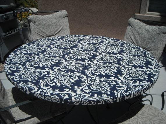 Round Fitted Tablecloth Navy And Cream Fitted Tablecloth