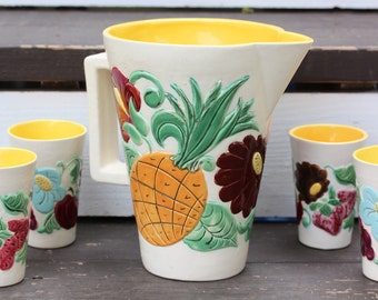 Vintage Handpainted Fruits and Flowers Ceramic Pitcher and Tumbler Set