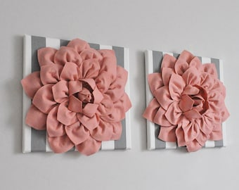 """TWO Wall Flowers -Blush Pink Dahlia on Gray and White Stripe 12 x12"""" Canvas Wall Art- 3D Wool Felt Flower"""