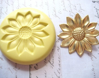 SUNFLOWER (large) - Flexible Silicone Mold - Push Mold, Polymer Clay Mold, Pmc Mold, Food Mold, Resin Mold, Clay Mold