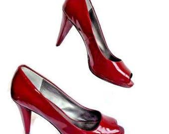 Moda Spana Size 7.5 Med  Red Peep Toe Classic Hi-Heel Pump