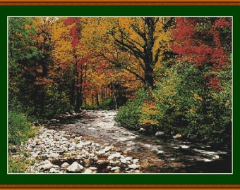 Fall Autumn Stream View Counted Cross Stitch Pattern in PDF for Instant Download
