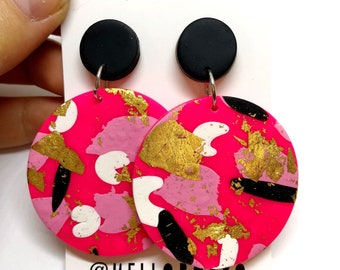 Frida - Polymer clay large statement dangle earrings