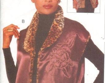 "Vogue 9706, Sz 8-18/Bust 31.5-40"". Vintage 90s EASY Reversible FUR Vest/Pieced Vest, Vogue Creative Clothing pattern"
