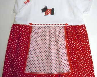 SALE! - Girls Size 5 Scotty Dog Red Polka Dot Cotton Tee Shirt Dress With Apron