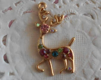 Charm reindeer in goldtone and multicolored rhinestones 3.10 cm in height.