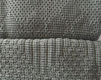 Baby Afghan,Throw Blanket, Knitted , Medium Gray